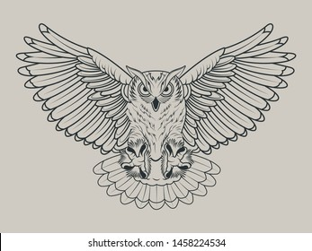 Flying Owl Line art Sketch Drawing