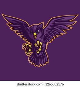 Flying owl mascot design