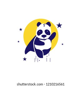 Flying pandas in outer space like superman, funny strong, logo icon, illustator, vector
