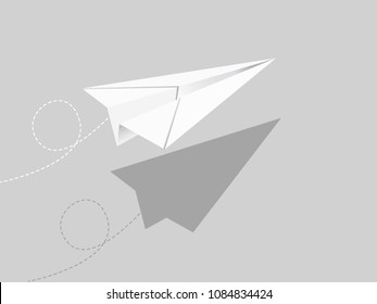 Flying paper airplane, correspondence concept illustration