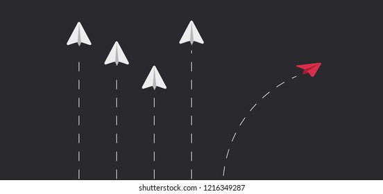 Flying paper airplanes. Think different, outside the box. Vector illustration. Dark horse among all. Stock vector paper planes. Not the same as another or each other