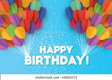 Flying Paper cut balloons. Colorful decoration for party, celebration, banner, card, gift. Origami Happy Birthday Greeting card. Vector Illustration.