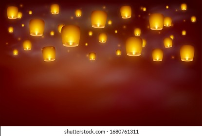 Flying paper sky lanterns with flames at night sky. Traditional design elements