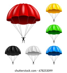Flying parachute isolated on white photo-realistic vector illustration