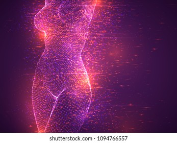 flying particles, a female body made of luminous particles. vector background