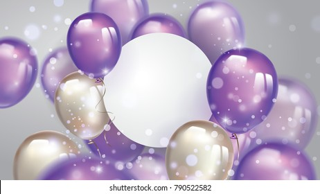 Flying pearl and ultra violet balloons, with free space on paper banner and blurred lighting glitters. Birthday background with purple ballons.