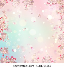 Flying petals on spring background. Flowers and petals in the wind. Vector background with plum or cherry blossom
