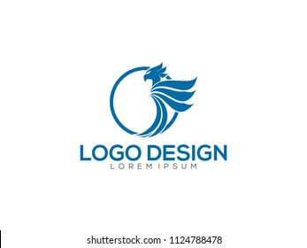Flying Phoenix Fire Bird abstract Logo design vector template. Dove Eagle Logotype concept icon.