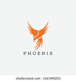 Flying Phoenix Fire Bird abstract Logo design vector template. Minimalist Dove Eagle Logotype concept icon. Vector high quality design