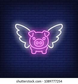 Flying pig cartoon character. Neon sign element. Night bright advertisement. Vector illustration for restaurant, cafe, diner, menu, advertising design