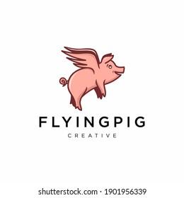 flying pig logo, icon and illustration