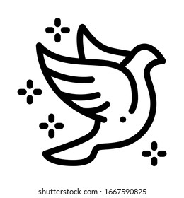 Flying Pigeon Bird Sparkling Icon Thin Line Vector. Fly Dove Bird Silhouette With Glistering Stars, Peace Symbol Concept Linear Pictogram. Monochrome Outline Sign Isolated Contour Illustration