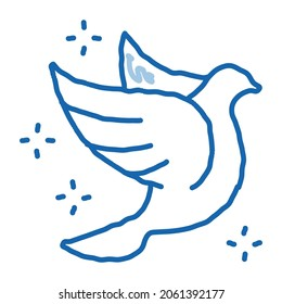 Flying Pigeon Bird Sparkling sketch icon vector. Hand drawn blue doodle line art Fly Dove Bird Silhouette With Glistering Stars, Peace Symbol sign. isolated symbol illustration