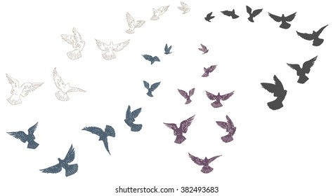 Flying pigeons, flock of birds, flying-up group, flight of pigeon. Set of silhouettes. Hand drawn Vector illustration.