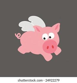 Flying Pig/Swine Vector