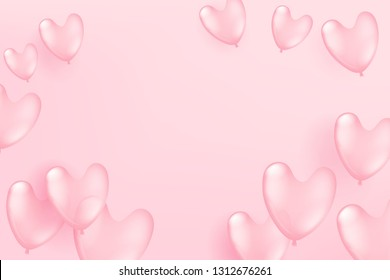 Flying pink balloons on pink background. Valentine`s Day and Mother`s Day celebration card template