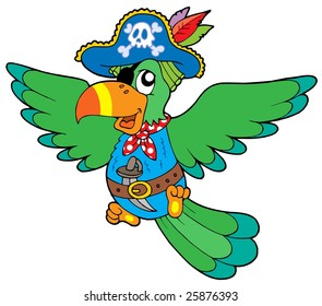 Flying pirate parrot - vector illustration.