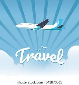 Flying plane above the clouds. Vector travel illustration for your business presentation, card, flyers, banners. Eps 10.