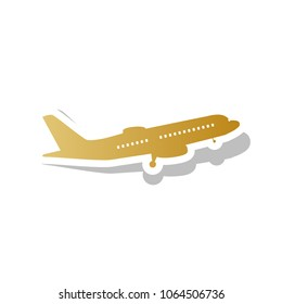 Flying Plane sign. Side view. Vector. Golden gradient icon with white contour and rotated gray shadow at white background.