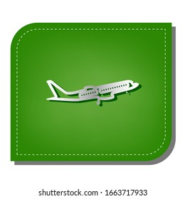 Flying Plane sign. Side view. Silver gradient line icon with dark green shadow at ecological patched green leaf. Illustration.