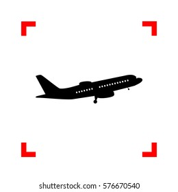 Flying Plane sign. Side view. Black icon in focus corners on whi
