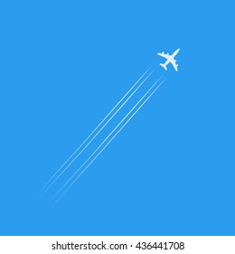 Flying plane silhouette isolated in blue sky, white plane shape with trails vector illustration