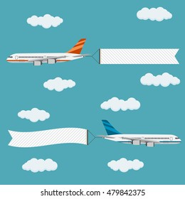 Flying planes with banners, template for text, vector illustration.