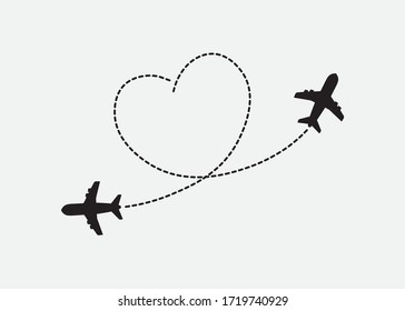Flying Planes with Heart Shaped Dotted Routes