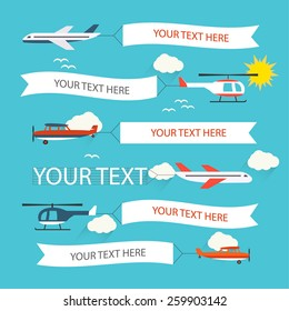 Flying planes and helicopters set with the banners, template for text, vector illustration