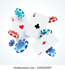 Flying poker cards, chips. Casino gambling realistic 3D falling play card and plastic red and black chip. Vector gamble elements
