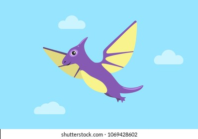 Flying pteranodon and clouds, dinosaur of flying type, pteranodon and clear sky, dinosaur with wings vector illustration isolated on blue background