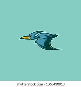 flying Pterodactyl Illustration. Isolated Mascot Vector. Modern Badge animal Logo sport