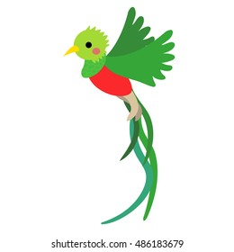 Flying Quetzal bird animal cartoon character isolated on white background.