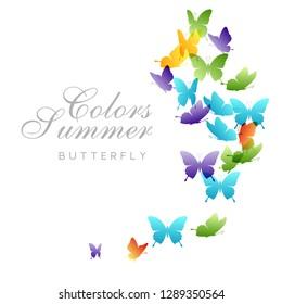 Flying rainbow butterflies. Vector decoration element.