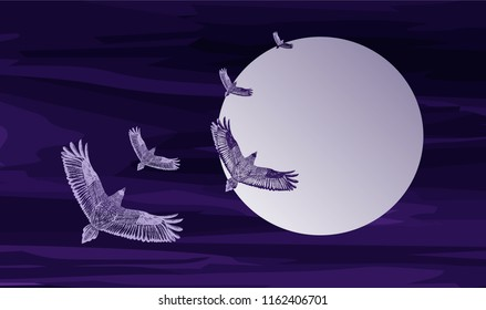 Flying ravens. Purple illustration. Big moon.Romantic picture. Vector illustration. Watercolor background with hand drawn flying eagles and round frame. Skein in the cloudy sky. Ultra violet backdrop
