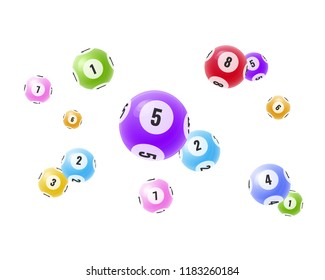 Flying realistic 3D balls with random numbers. Lottery, bingo, lotto. Balls with numbers for game, drawing prizes in lotto. Success, victory, winnings, luck. Vector illustration for banner, flyer