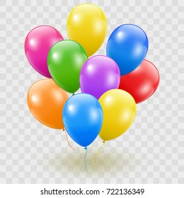 Flying Realistic Glossy Colorful Balloons with Party and Celebration concept on white background.