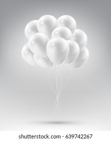Flying Realistic Glossy white Balloons with Party and Celebration concept on white background, vector illustration