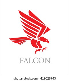 Flying red eagle with the spreading wings. Hawk. Falcon. Red falcon.