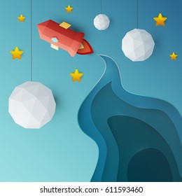 Flying red rocket in space with planet, stars. Science concept inspiration. Paper art cartoon realistic trendy craft style. Modern origami design template. Funny cute childrens vector illustration.