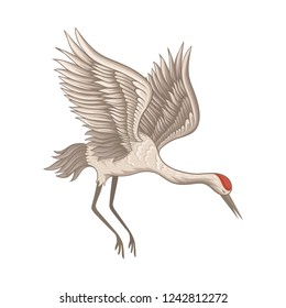 Flying red-crowned crane. Beautiful bird with large wings, long thin beak, legs and neck. Flat vector icon