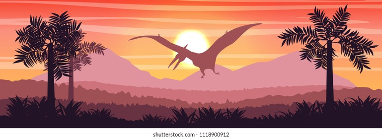 Flying reptile pteranodon in the sky above the valley and mountains Prehistoric animals and plants ferns. Vector landscape of the Mesozoic era. Pterodactyl. Silhouette