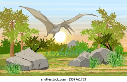 Flying reptile Pteranodon in the sky above prehistoric forest. Prehistoric animals and plants. Scene from Mesozoic or Jurassic period. Realistic Vector Landscape