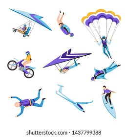Flying or riding extreme air sport flying and jumping isolated characters vector parachute and hang glider wingsuit and motorcycle surfing man in protective clothing helmet or diving costume.