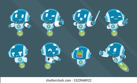 flying robot mascot character set