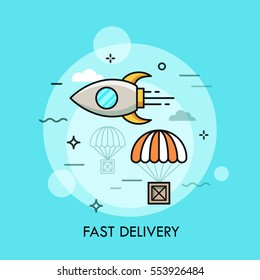 Flying rocket and carton box dropped by parachute. Express delivery service, online shopping, electronic commerce, cargo shipping concept. Vector illustration in thin line style for website, banner.
