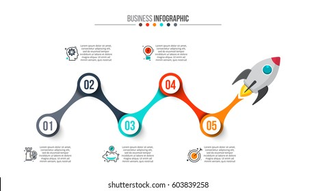 Flying rocket with flame. Vector infographic illustration. Abstract elements of graph, diagram with 5 steps, options, parts or processes. Stroke icons.