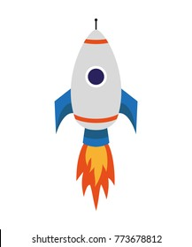 Flying rocket on the white background. Business concept startup or launch. Vector illustration.