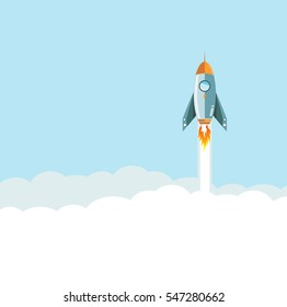 flying Rocket over clouds background. illustration design graphic
