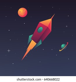 Flying rocket in space with planets and stars. The concept of a start up business or launching a new product on the market. Vector illustration in modern style